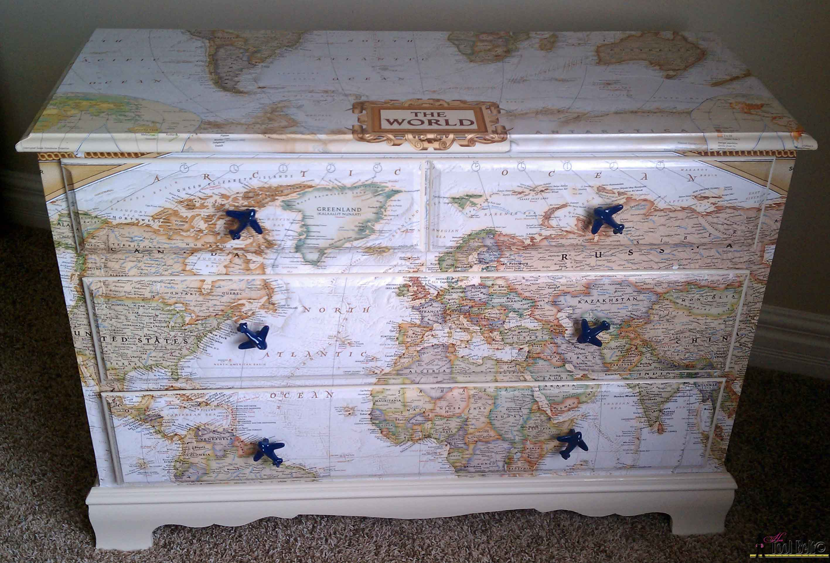 Make Over An Old Dresser Into A Unique Travel Theme Map With And