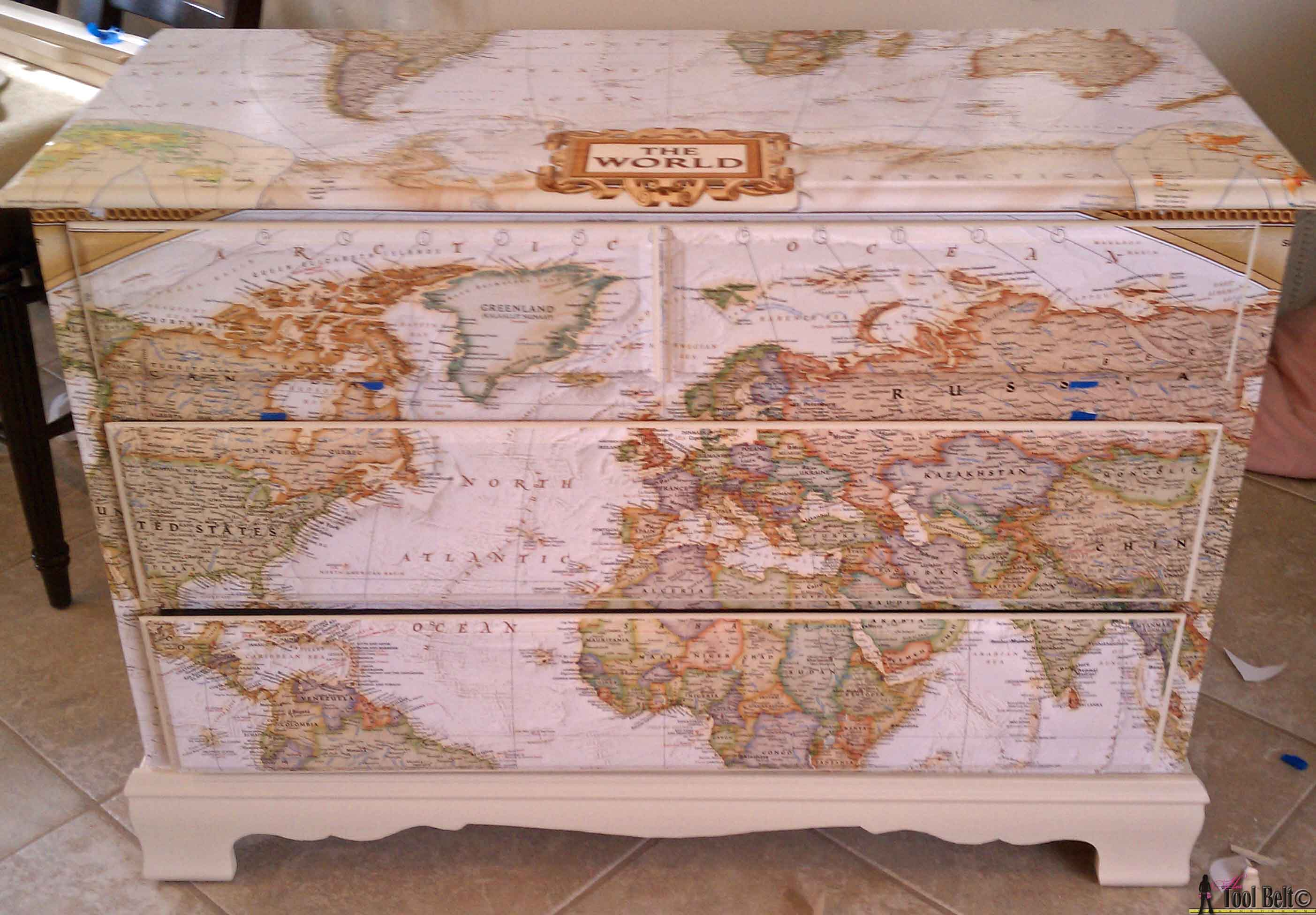 Make Over An Old Dresser Into A Unique Travel Theme Map With And Once The Mod Podge