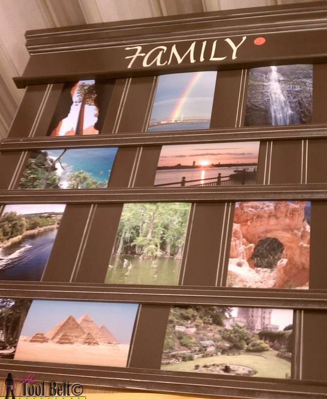 brown sliding photo board