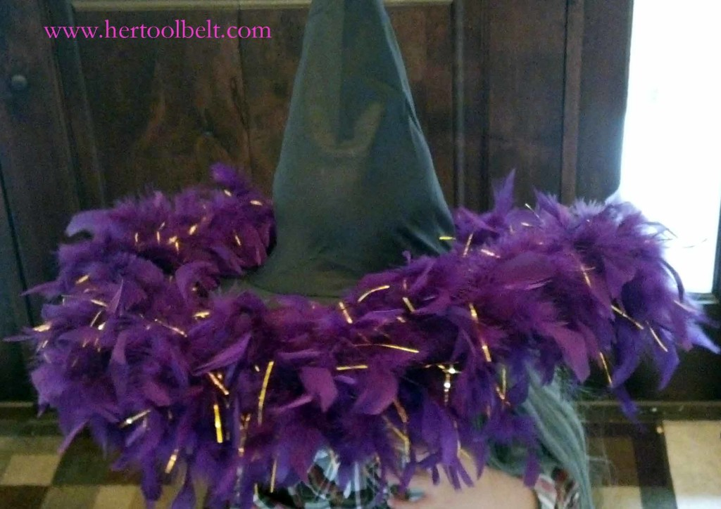 sew boa on witch hat hertoolbelt