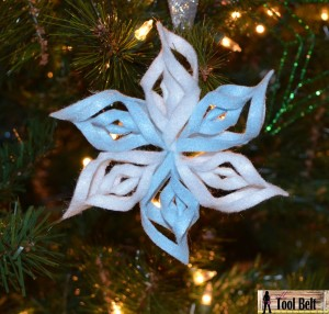 3-D felt snowflake ornament pattern