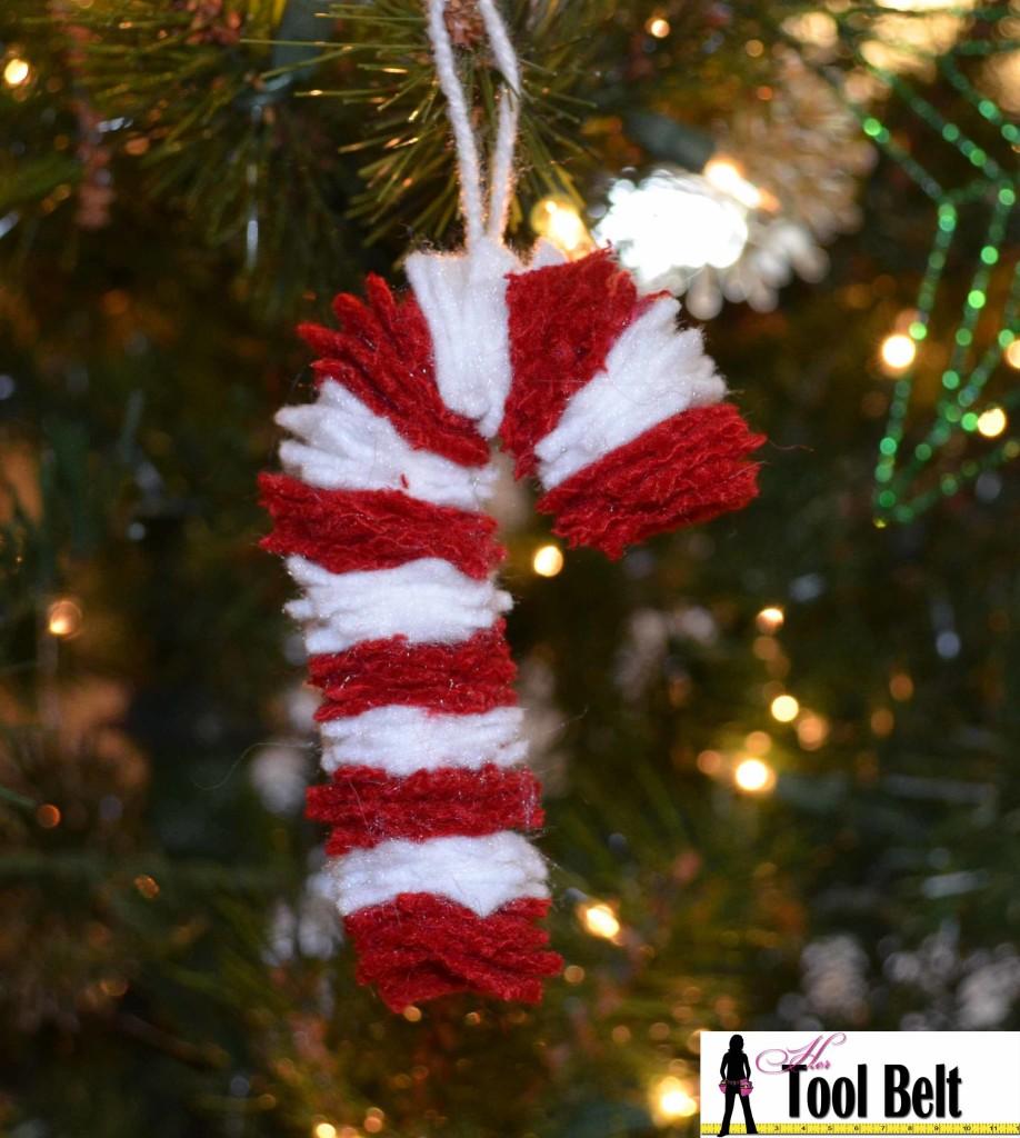 Chunky felt candy cane ornament