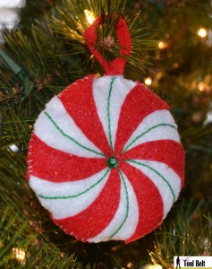 Peppermint candy ornament green stripe