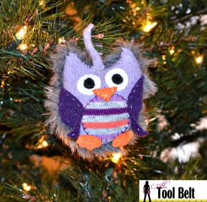 Recycled sweater owl ornament