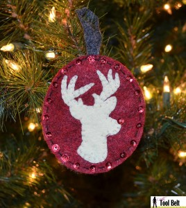 Rudolph the white stag reindeer ornament