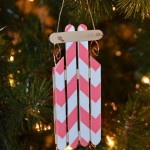 11th Day of Christmas – wood sled ornament