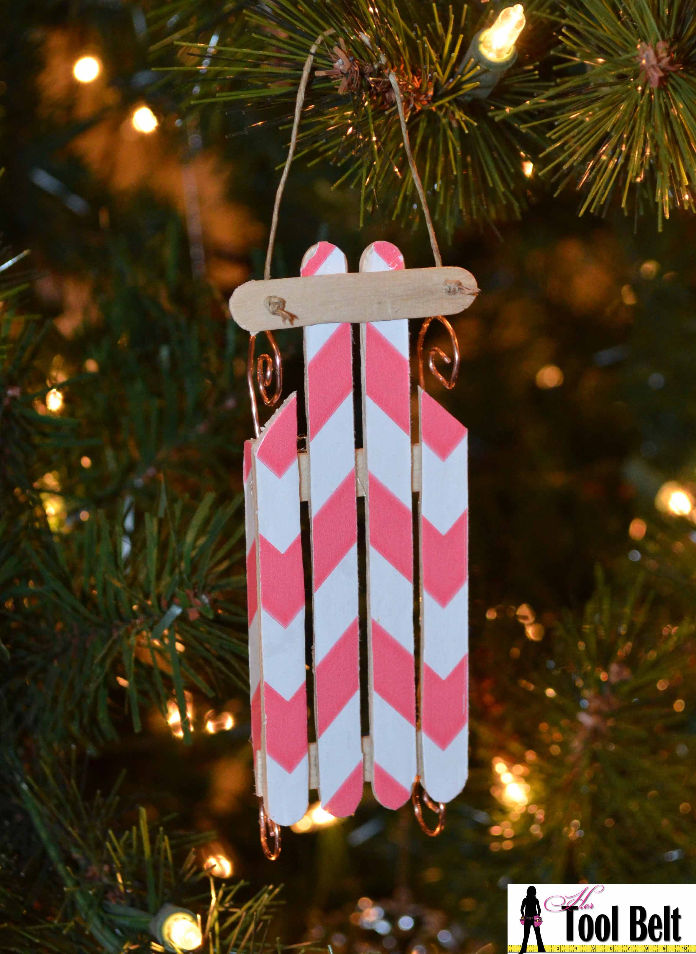 chevron popsicle wood sled ornament - Wooden Sled Decoration Christmas