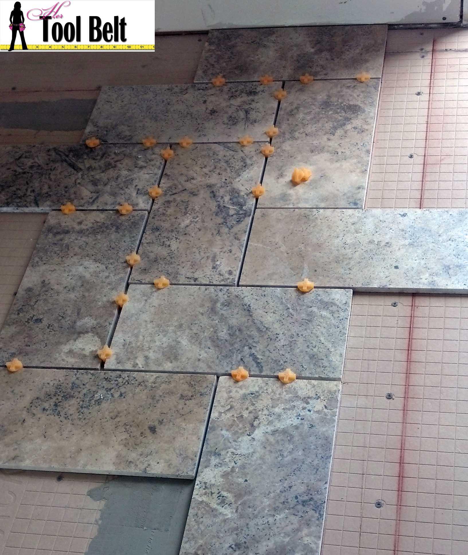Greatest Silver Travertine Tile Herringbone Floor Tutorial - Her Tool Belt TG88