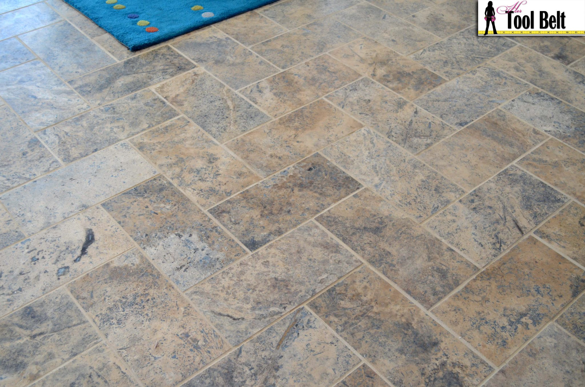 Silver Travertine Tile Herringbone Floor Tutorial Her Tool Belt