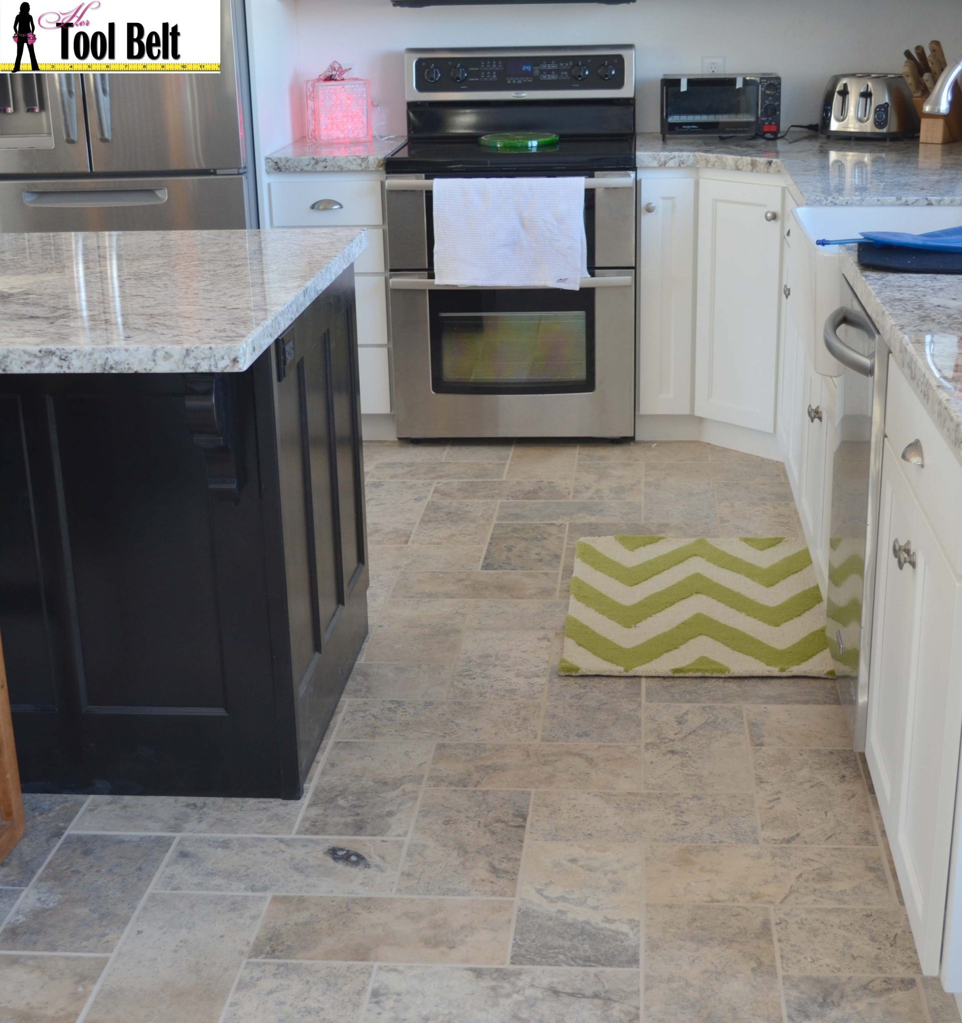 Silver travertine tile herringbone floor tutorial her tool belt kitchen floor dailygadgetfo Image collections
