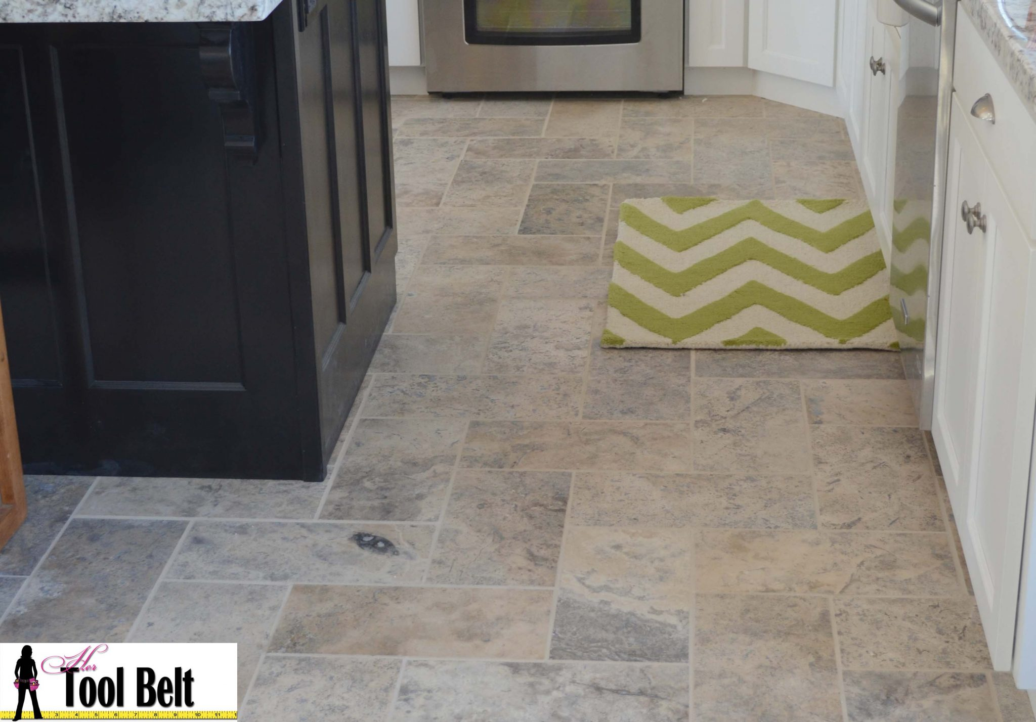 Silver travertine tile herringbone floor tutorial her for Floor tile design tool
