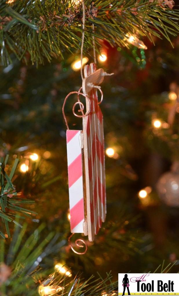 popsicle wood sled ornament