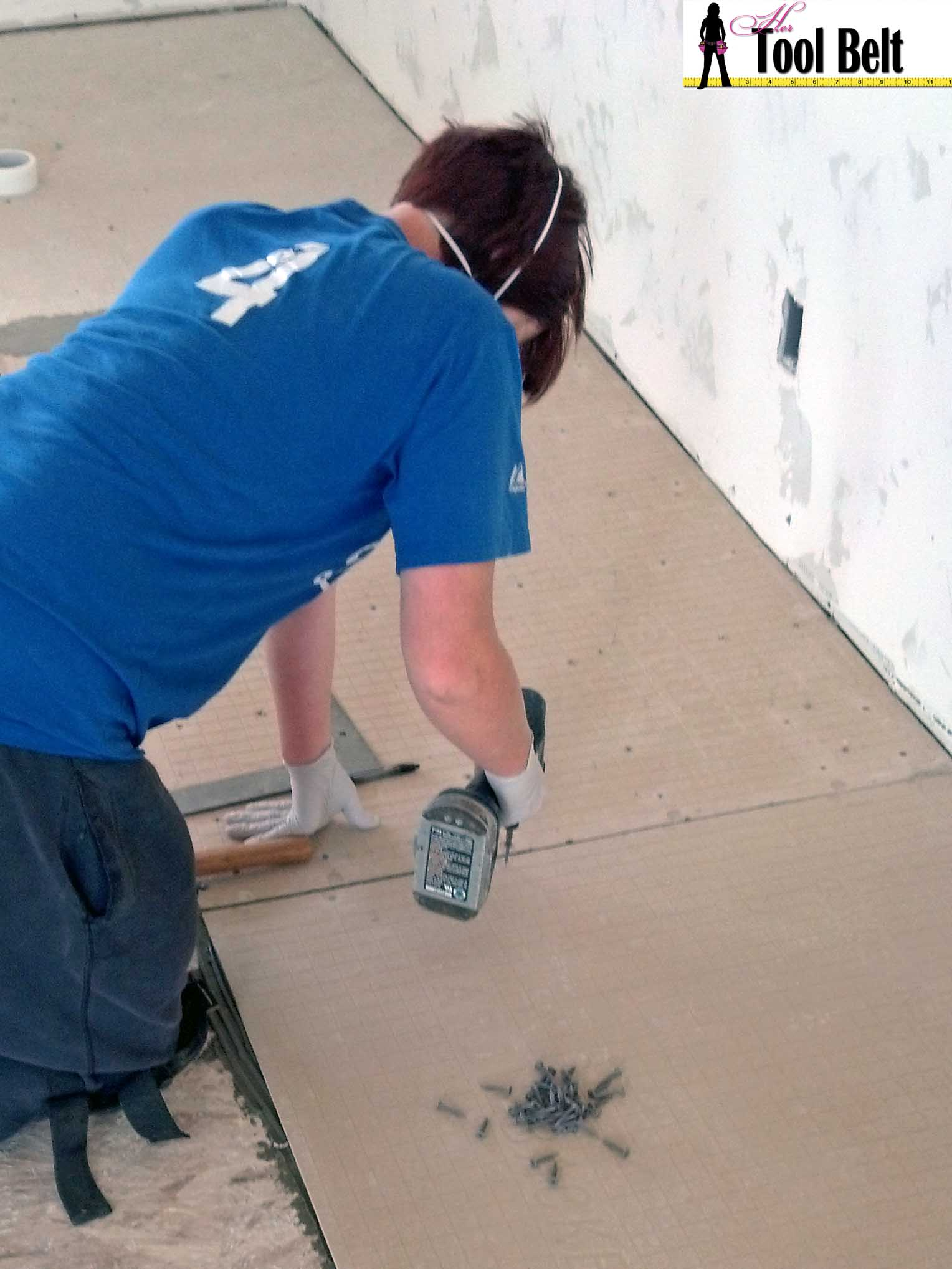 How to install wood tile barnwood her tool belt screw down backerboard dailygadgetfo Images