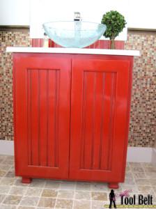 Paprika bathroom vanity cabinet