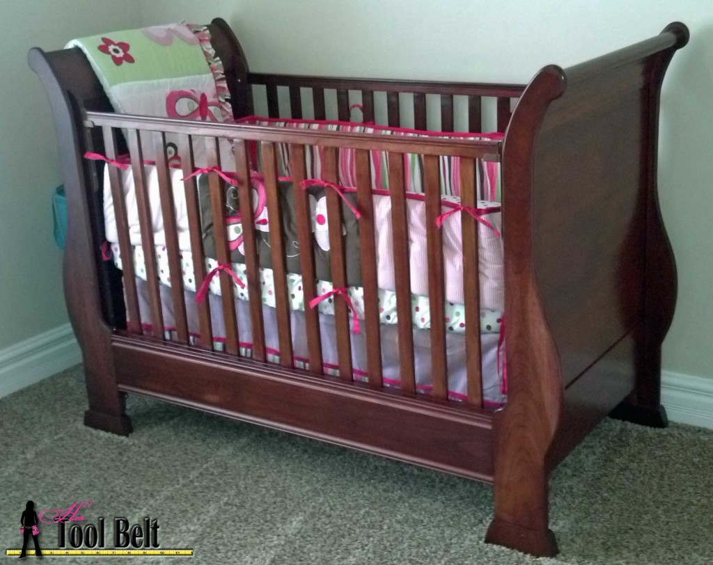 Beautiful Cherry Sleigh Crib on hertoolbelt.com