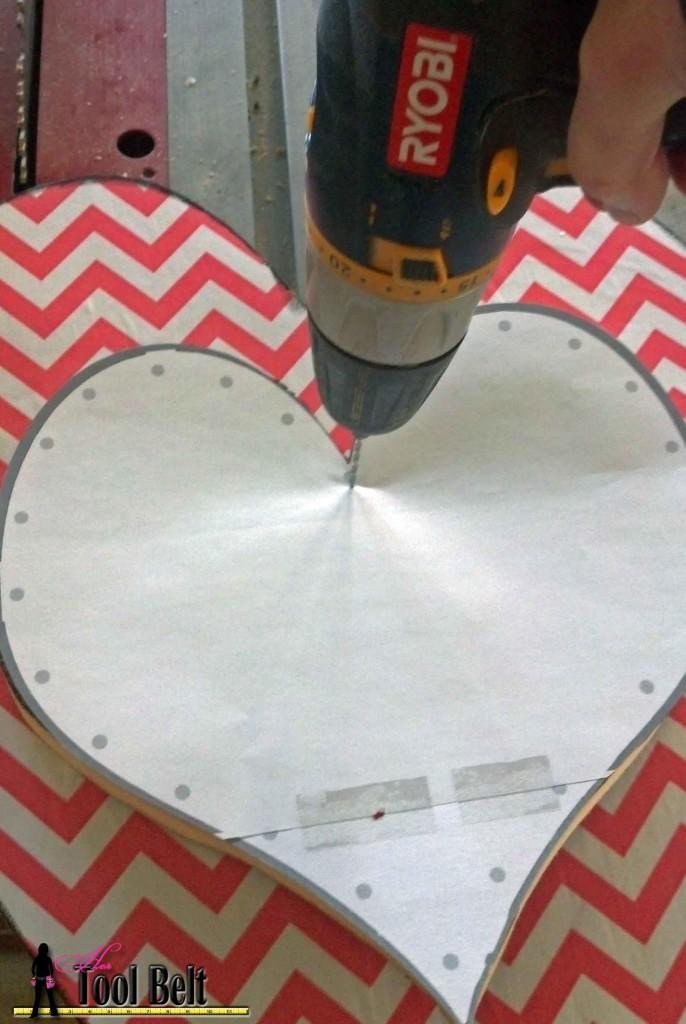door heart - drill holes through wood