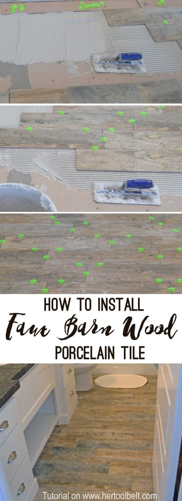 Step by step tutorial showing how to install faux barn wood tiles. This tile looks so good in person and I love the tight grout lines - less cleaning!