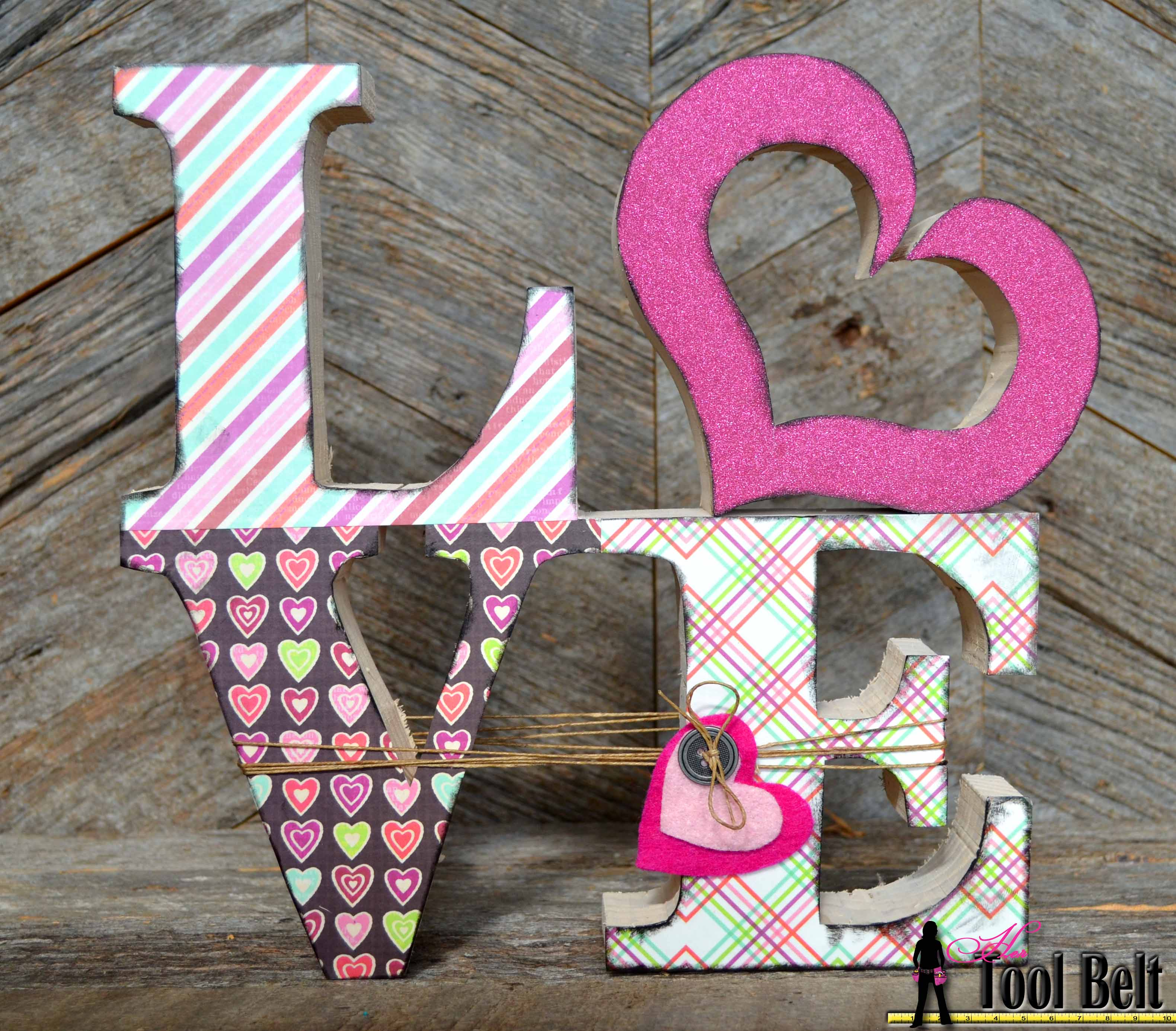 Wooden letters for crafts - Love Wood Blocks