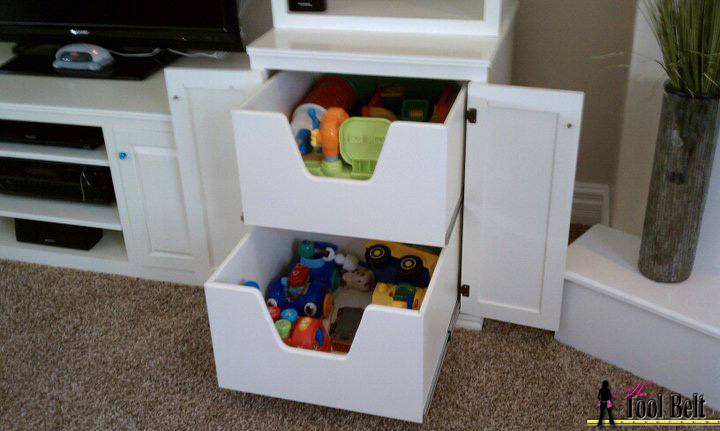 Media system with toy box drawers