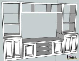 Entertainment center pb media center plan bookshelves for Media center plans