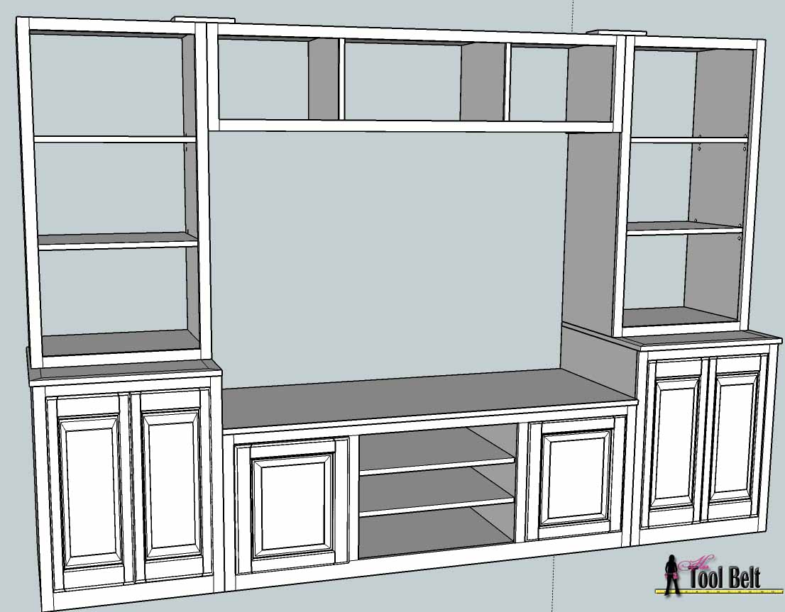 Entertainment center pb media center plan bookshelves How to build an entertainment wall unit