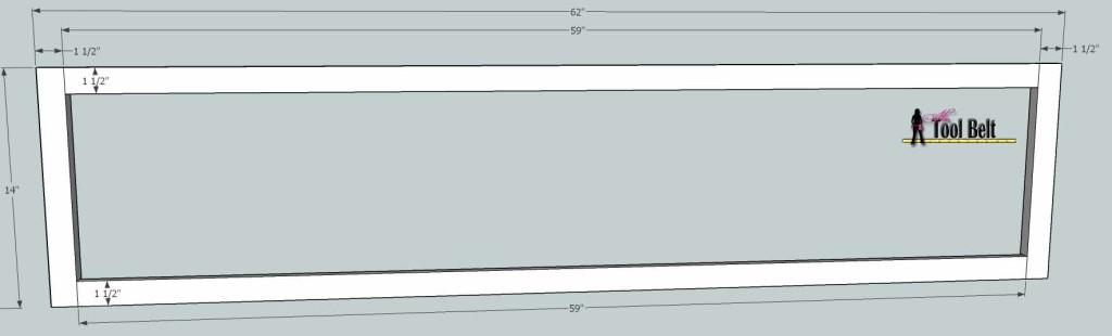 media center bridge face frame dimensions