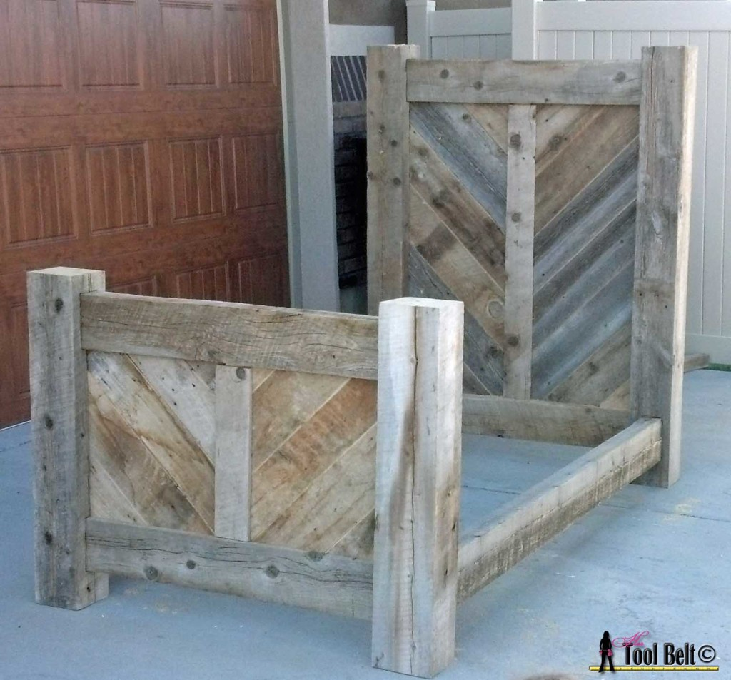 Rustic barnwood chevron bed plan