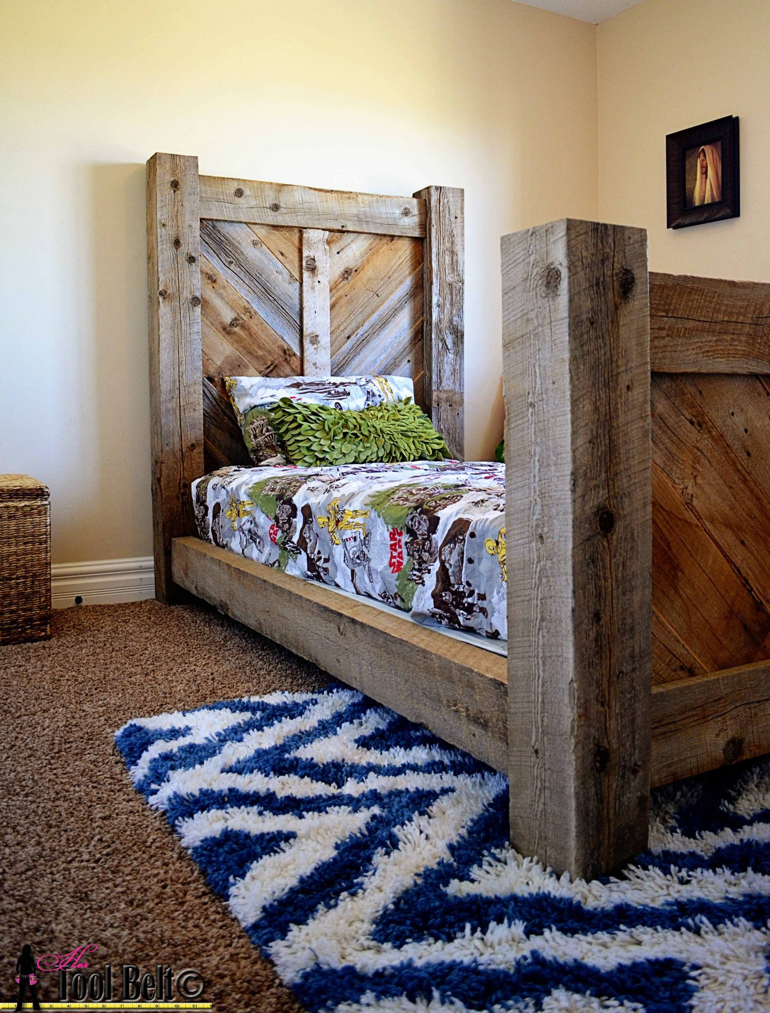 Twin Bed With Decorative Side Board