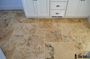 DIY travertine versailles pattern tile