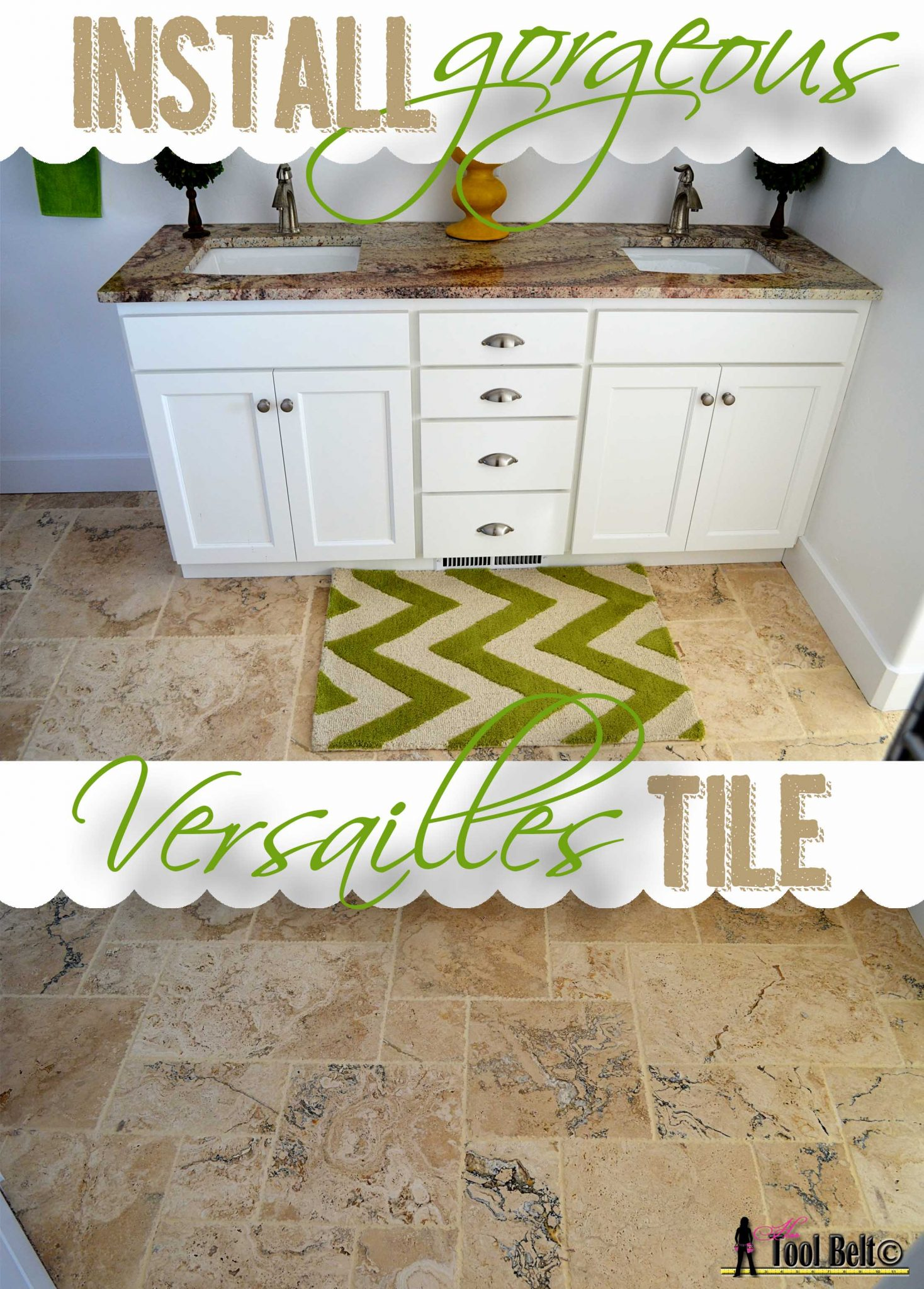 Travertine versailles pattern tile tutorial her tool belt install gorgeous versailles tile tutorial dailygadgetfo Gallery