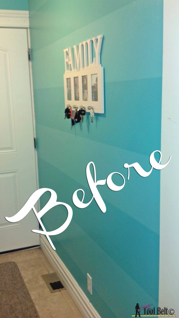 Geometric Wall - pre turquoise stripes before