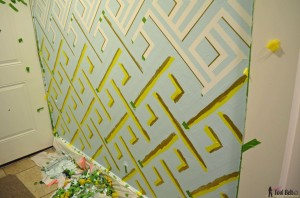Mudroom during pin stripe gold