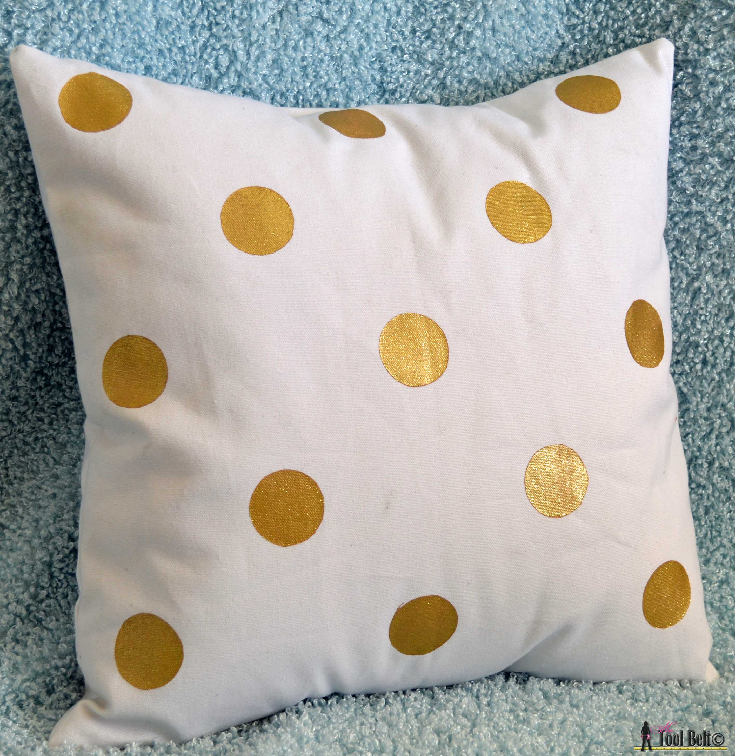 painted pillows and fabric  her tool belt - painted pillows gold shimmering polka dot on hertoolbeltcom