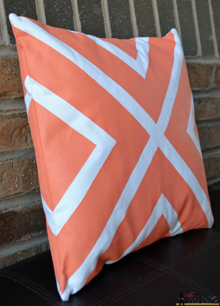 painted pillows - coral stripes finished on hertoolbelt.com