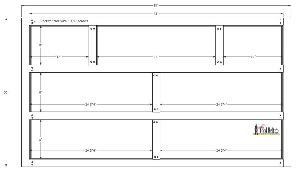 7 drawer dresser-back of face frame