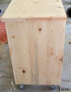 7 drawer dresser-unfinished side view