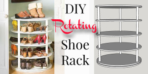 DIY rotating shoe rack at Remodelaholic.com