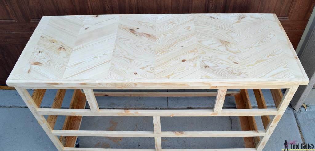 Unfinished 7 drawer dresser chevron top