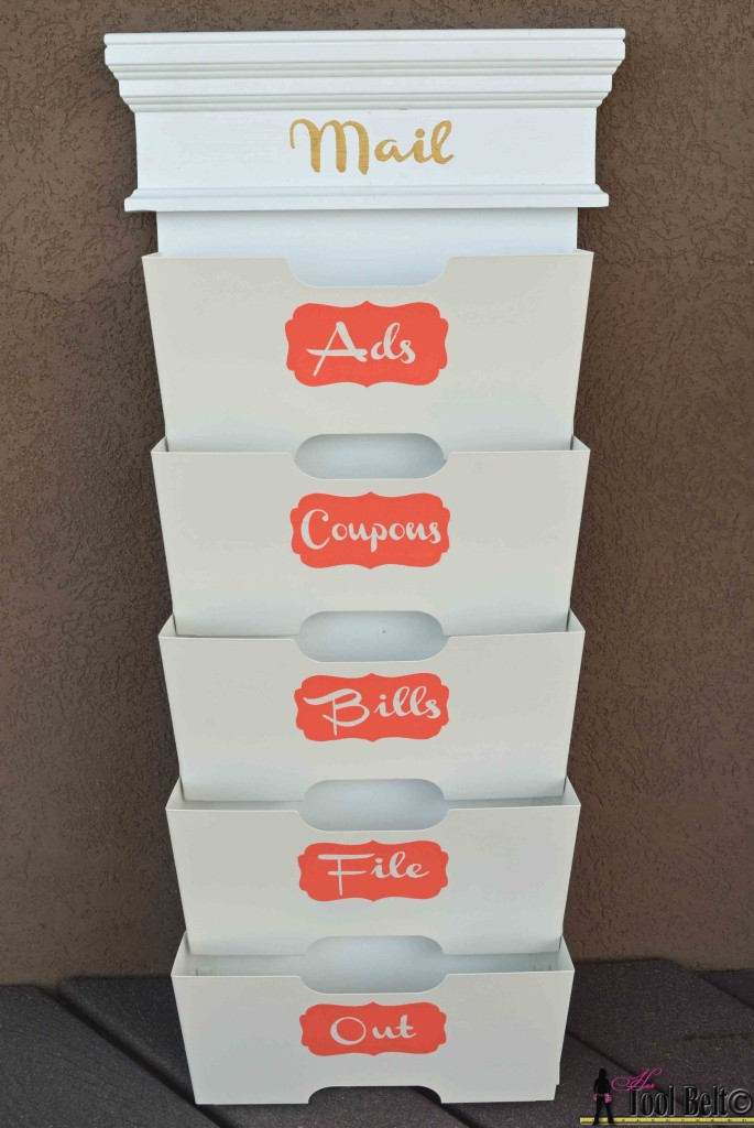 Easy personalized mail sorter, make custom stencils with painters tape on hertoolbelt.com