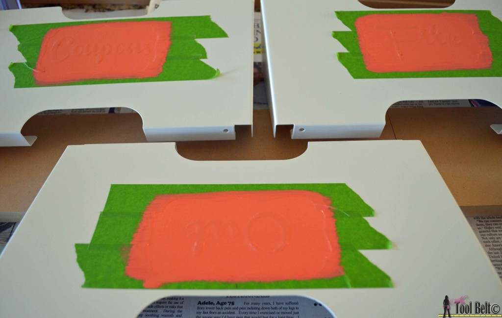 Easy personalized mail bins, make custom stencils with painters tape on hertoolbelt.com