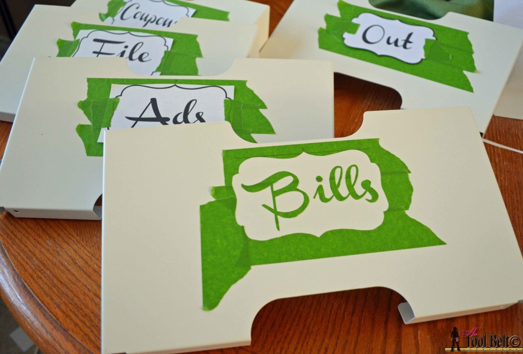 Easy personalized mail organizer, make custom stencils with painters tape on hertoolbelt.com
