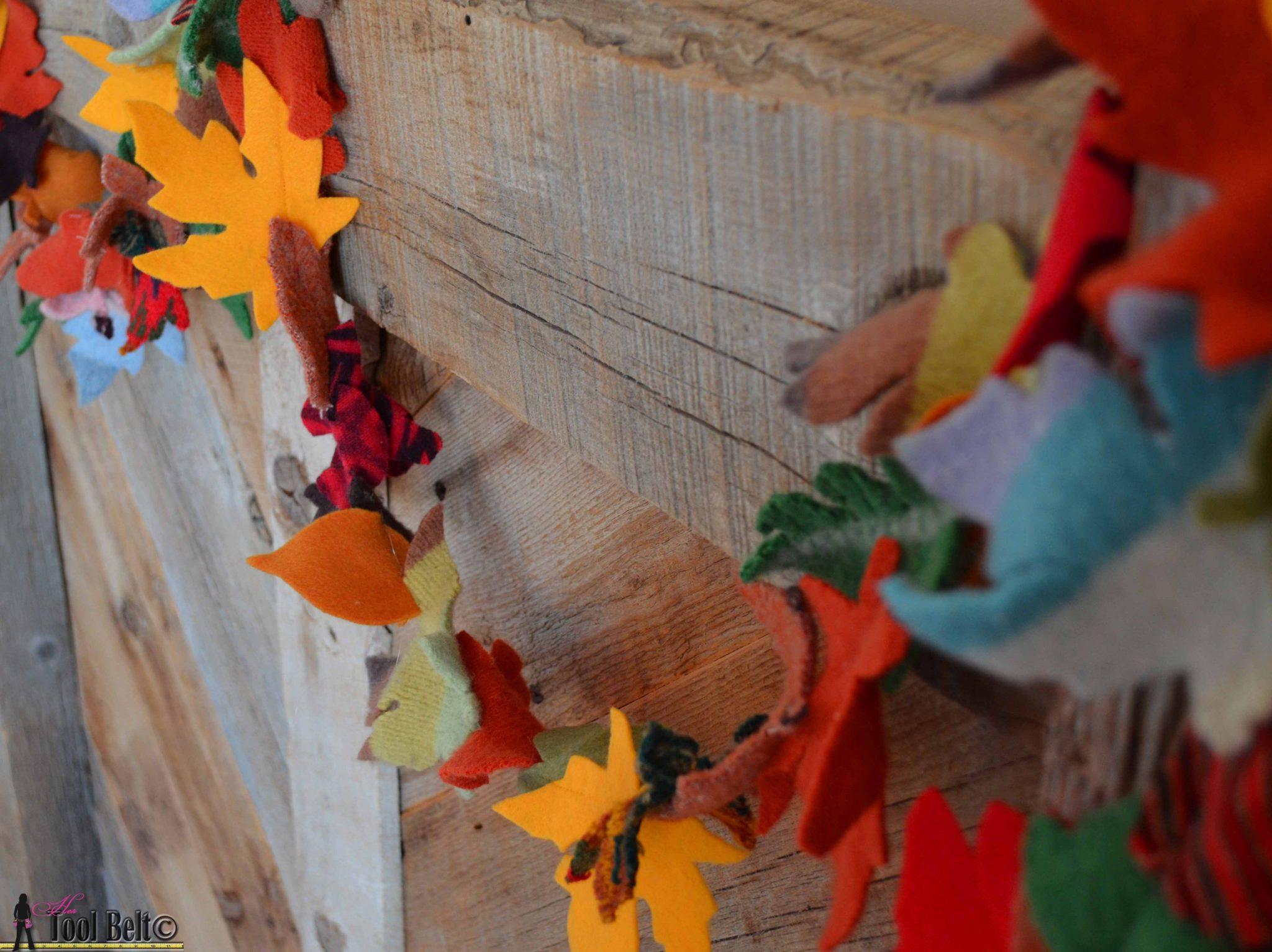 Fall Leaf Garland On Mantle Her Tool Belt