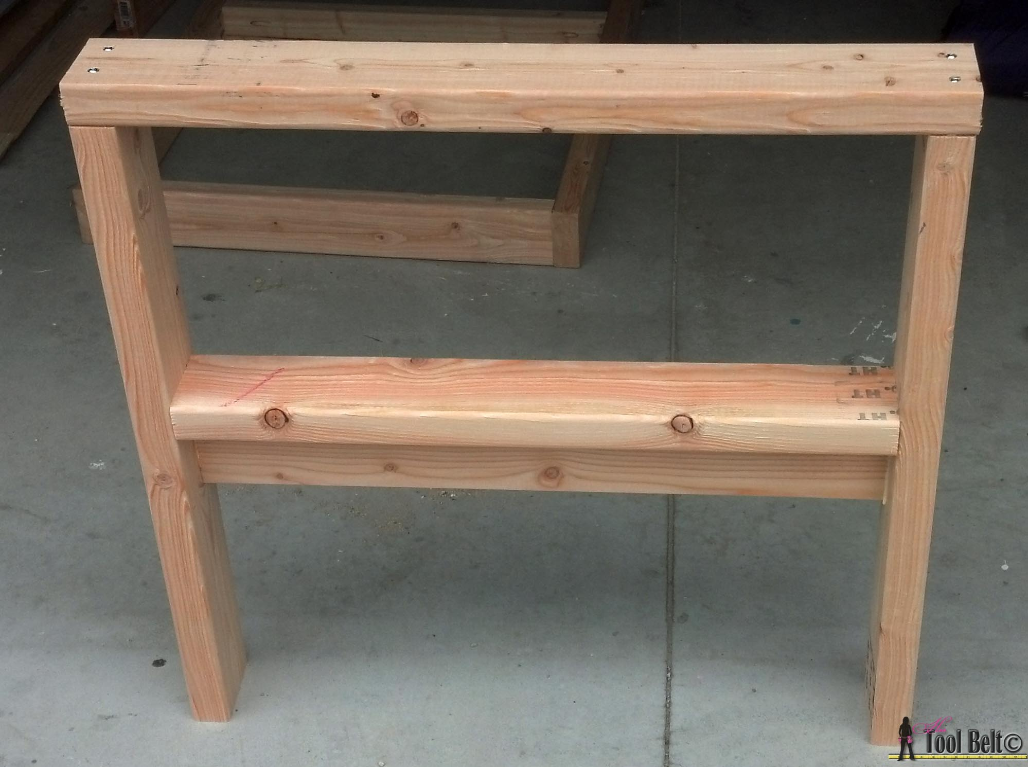 Build your own outdoor seating from 2x4's with these free and easy plans on hertoolbelt.
