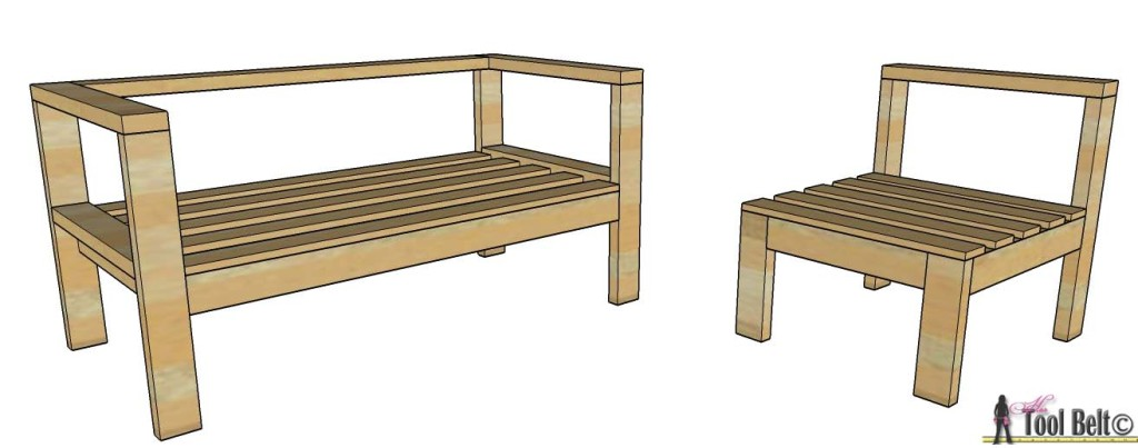 Build your own outdoor seating from 2x4's with these free and easy plans on hertoolbelt.com