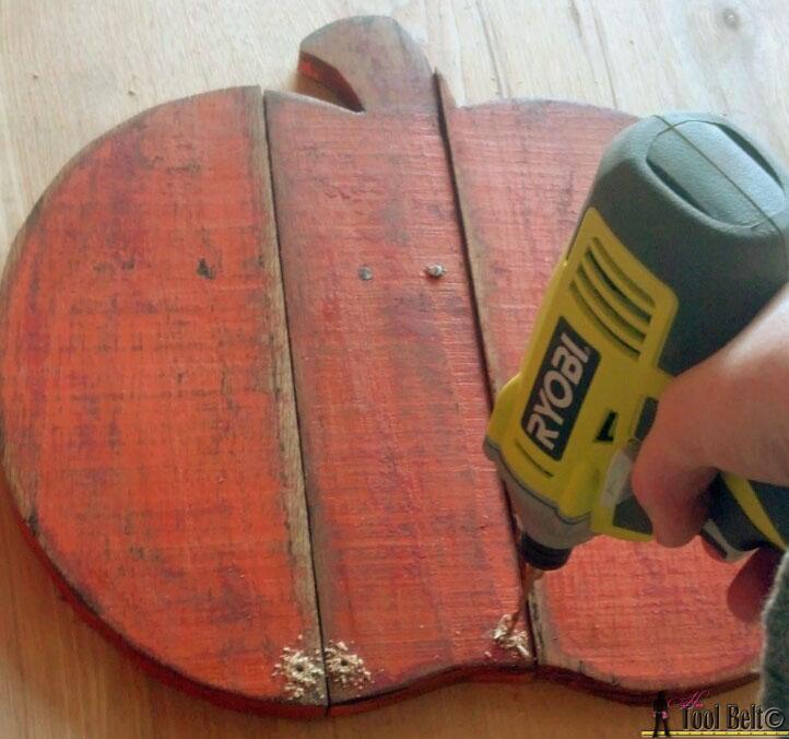 rustic pallet pumpkin drill holes