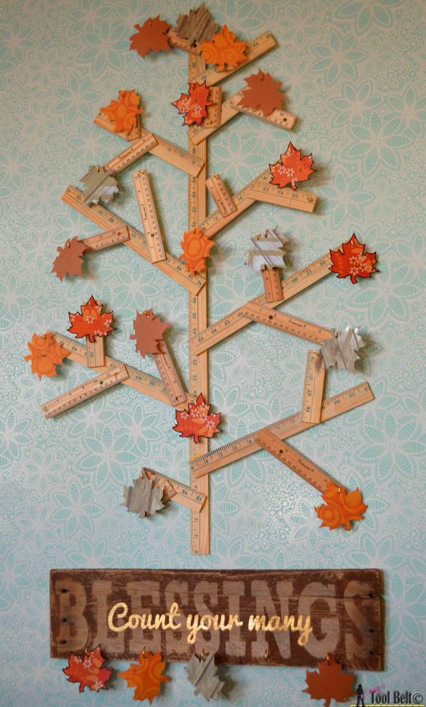 Create an easy Thankful Tree to celebrate the Thanksgiving Holiday. Adorn it with a rustic Count your many Blessing Sign. #GiveThanks