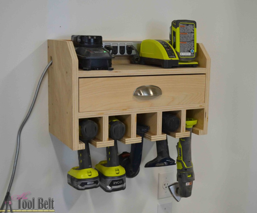 Cordless drill storage charging station her tool belt organize your tools free plans for a diy cordless drill storage and battery charging station solutioingenieria Images