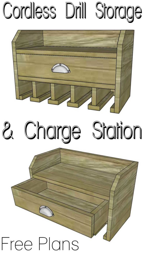 cordless drill storage and charge station- free plans