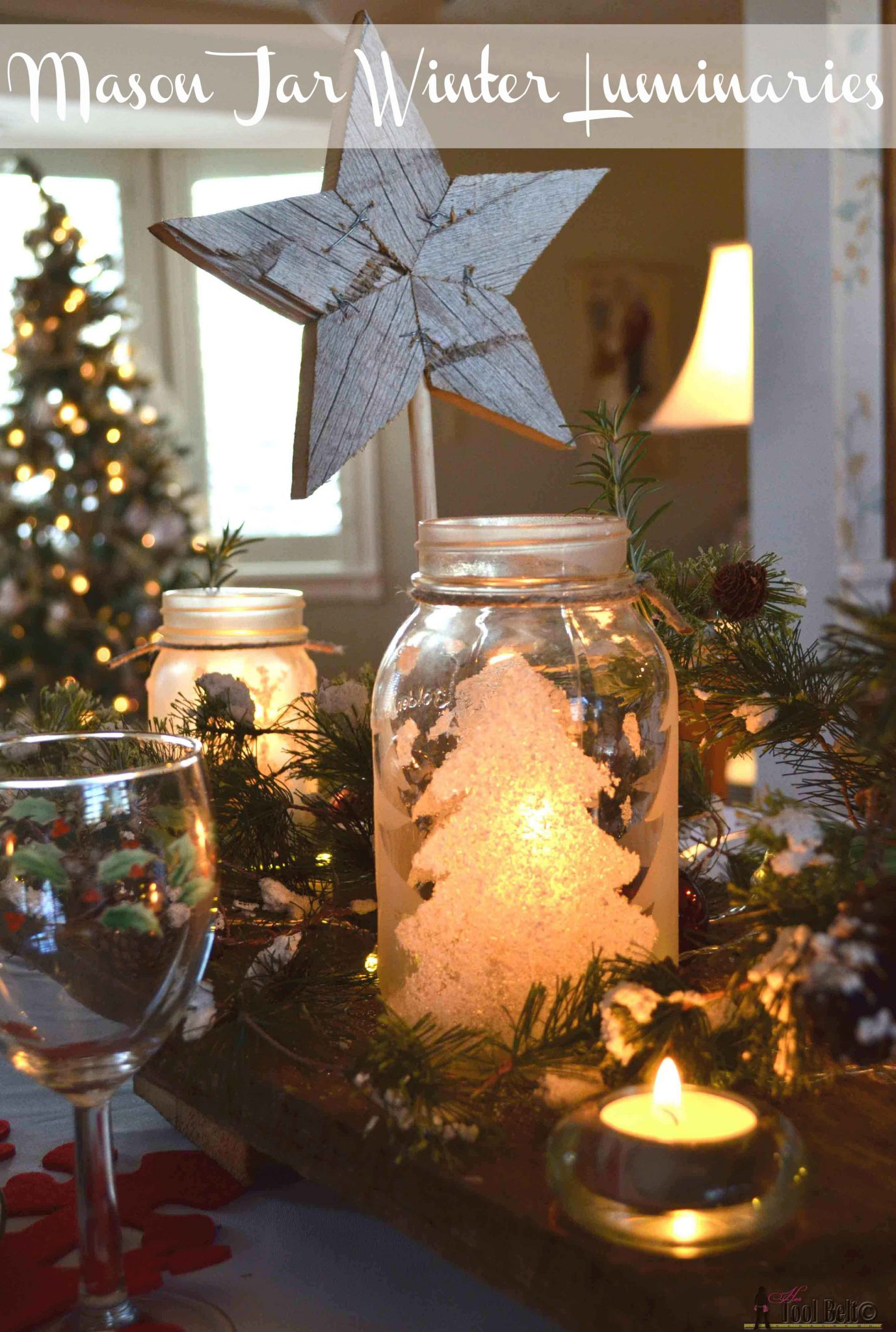 Winter luminaries her tool belt frosted and flocked pine trees make these easy winter themed luminaries have a beautiful glow solutioingenieria Images