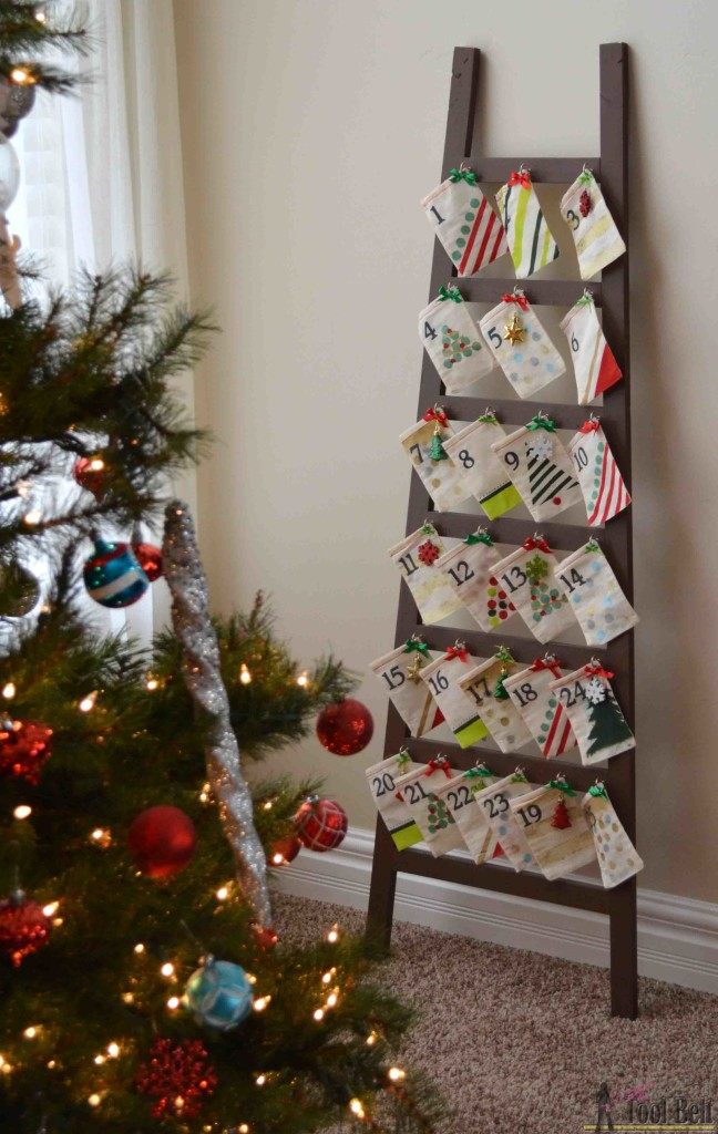 Pottery Barn knockoff ladder advent calendar